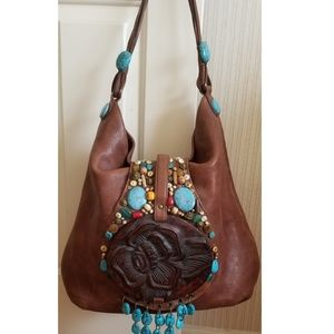 Cole Haan G Collection Leather Boho Bag w/ Beads